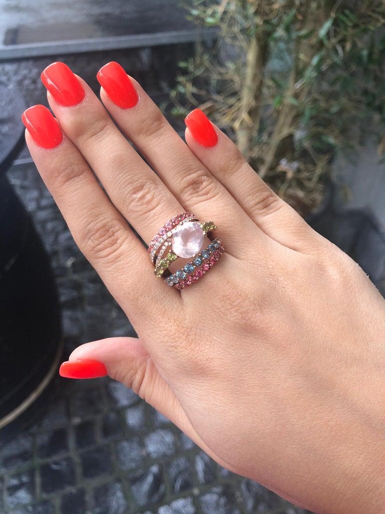 Modern Peridot Diamond Rose Quartz Topaz Rose Gold 14 Karat Ring For Sale