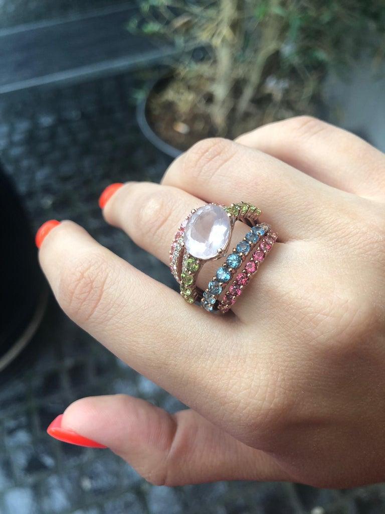 Round Cut Peridot Diamond Rose Quartz Topaz Rose Gold 14 Karat Ring For Sale
