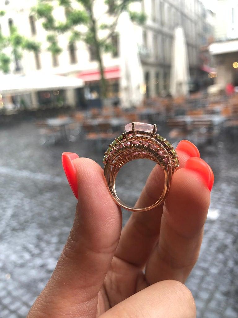 Women's Peridot Diamond Rose Quartz Topaz Rose Gold 14 Karat Ring For Sale