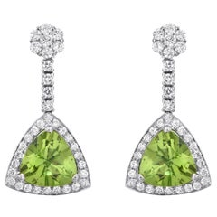 Diamond Peridot Earrings 4.23 Carats Total