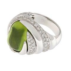 Peridot Diamond White Gold Ring