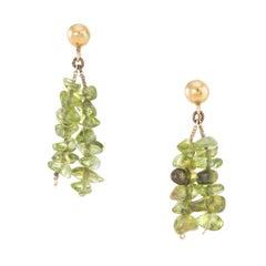 Peridot Drop Earrings Vintage 14 Karat Yellow Gold Estate Fine Jewelry Pre Owned