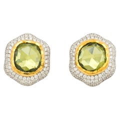 Peridot Earring Tops with Diamond Accents