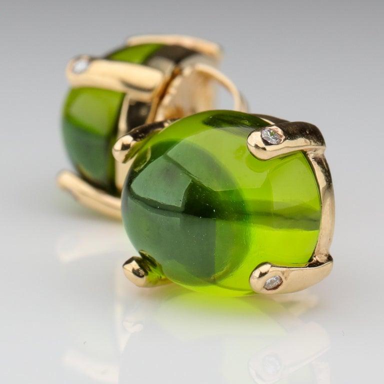 Retro Peridot Earrings with Diamond-Tipped Prongs, circa 1950s