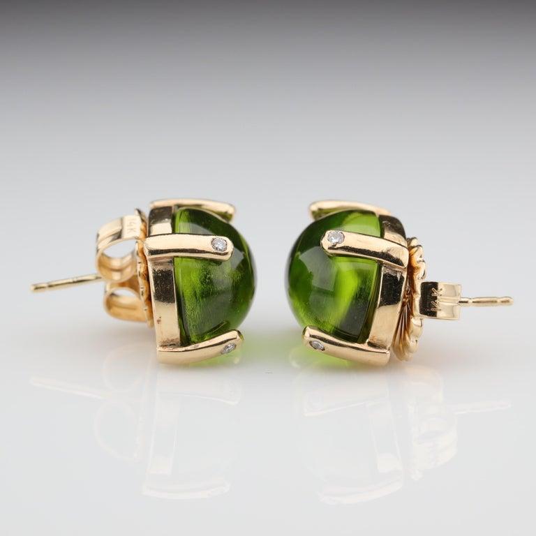 Women's Peridot Earrings with Diamond-Tipped Prongs, circa 1950s
