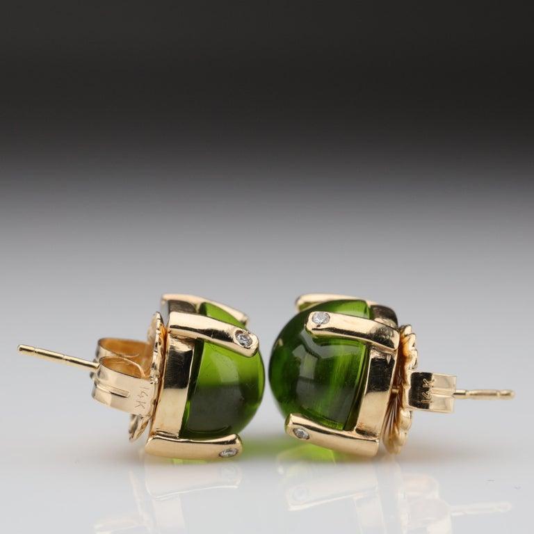 Peridot Earrings with Diamond-Tipped Prongs, circa 1950s 2