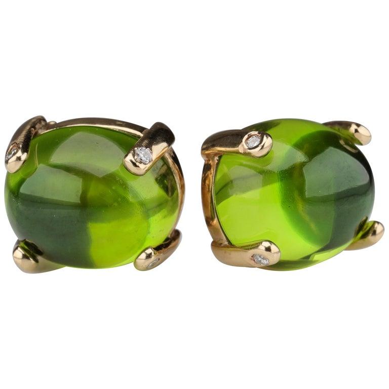 Peridot Earrings with Diamond-Tipped Prongs, circa 1950s