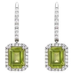 Peridot Emerald Cut Diamond Lever Back White Gold Drop Earrings