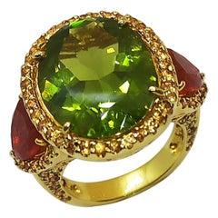 Peridot, Fire Opal with Yellow Sapphire Ring Set in 18 Karat Gold Settings