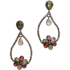 Peridot, Garnet and Diamond Drop Dangle Earrings