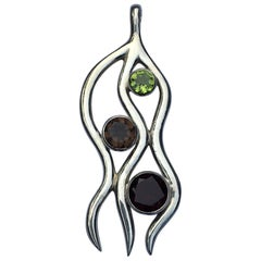 Peridot, Garnet and Smokey Topaz Pendant Set in Sterling Silver