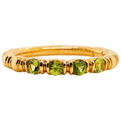Peridot Gemstone Stackable Band in 14 Karat Yellow Gold, August Birthstone Band