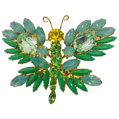 Peridot, Jade and Opal Vintage Austrian Crystal Whimsical Butterfly Brooch
