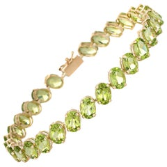 Peridot Line Bracelet Estate Tennis 14 Karat Yellow Gold Vintage Jewelry
