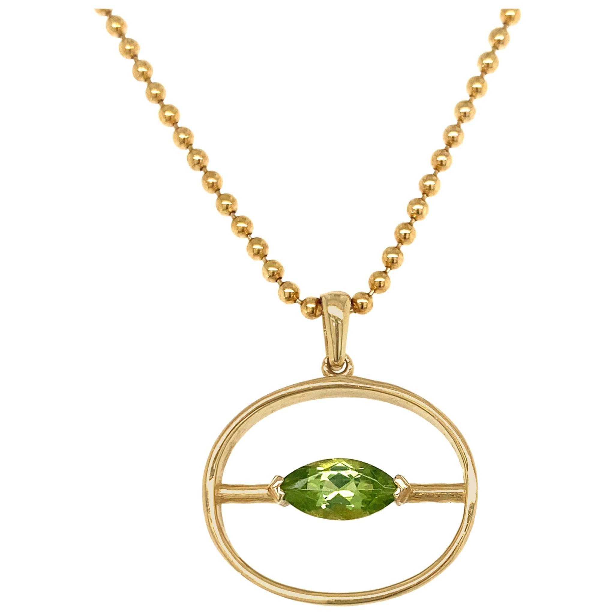 "Peridot Marquise ""Theta"" Pendant on 24"" Ball Chain, All in 18 Karat Yellow Gold"