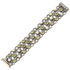 Peridot, Pearl and Sterling Silver 3 Row Ned Bowman Jeweler Cuff Bracelet