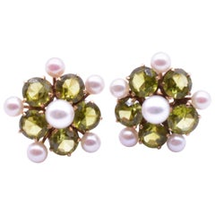 Peridot and Pearl Forget Me Not Earrings Set in Gold, circa 1940