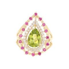 Peridot Pink Sapphire Diamond 14 Karat Yellow Gold Ring