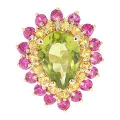 Peridot Pink Sapphire Yellow Sapphire 14 Karat Yellow Gold Ring