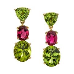 Peridot and Pink Tourmaline 18k Yellow Gold Earrings