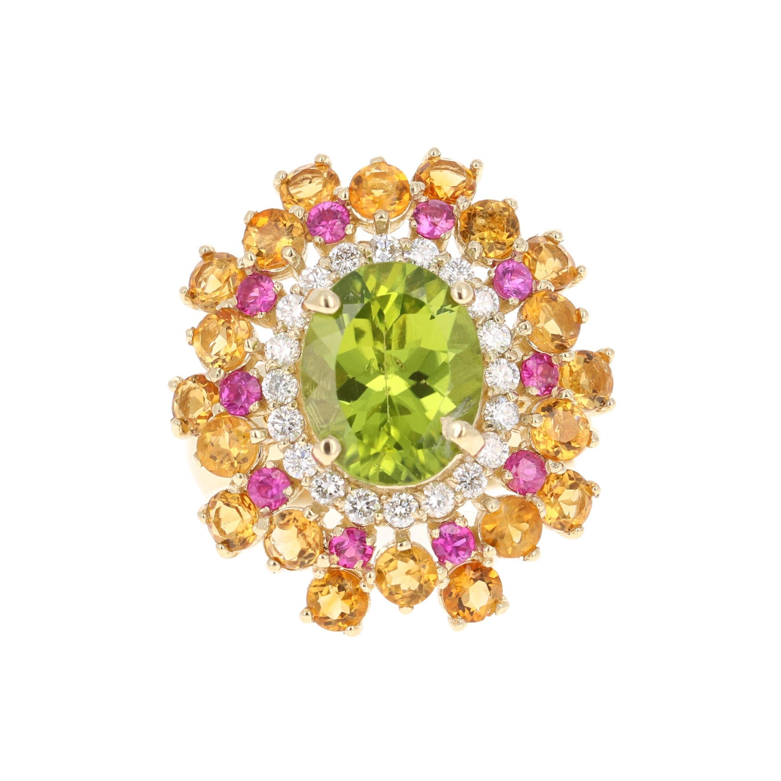 6.15 Carat Peridot Pink, Yellow Sapphire Diamond 14K Yellow Gold Cocktail Ring