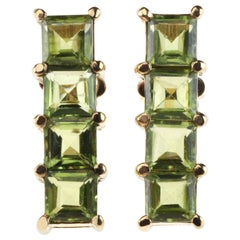 Peridot Princess Cut 18 Karat Gold Earrings