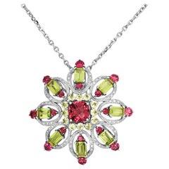 Peridot Red Tourmaline Diamond 14 Karat White Gold Brooch Pendant Necklace
