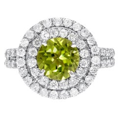 Peridot Ring Diamond White Gold Cocktail Ring