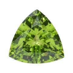 Peridot Ring Gem 4.06 Carat Unmounted Trillion Loose Gemstone
