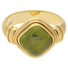 Peridot Ring in 18 Karat Yellow Gold