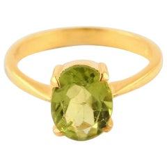 Peridot Ring, Peridot Ring Gold, Birthstone Ring, Minimalist Ring, 14 Karat Gold