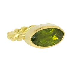 Peridot Gold Rope Ring