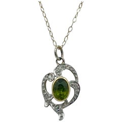 Peridot Rose Cut Diamond Lavaliere Pendant Necklace 14 Karat Gold Edwardian