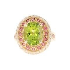 Peridot Sapphire Diamond 14 Karat Yellow Gold Ring