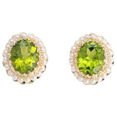 Peridot Seed Pearl Earrings 14 Karat Yellow Gold Oval Stud Estate Fine Jewelry