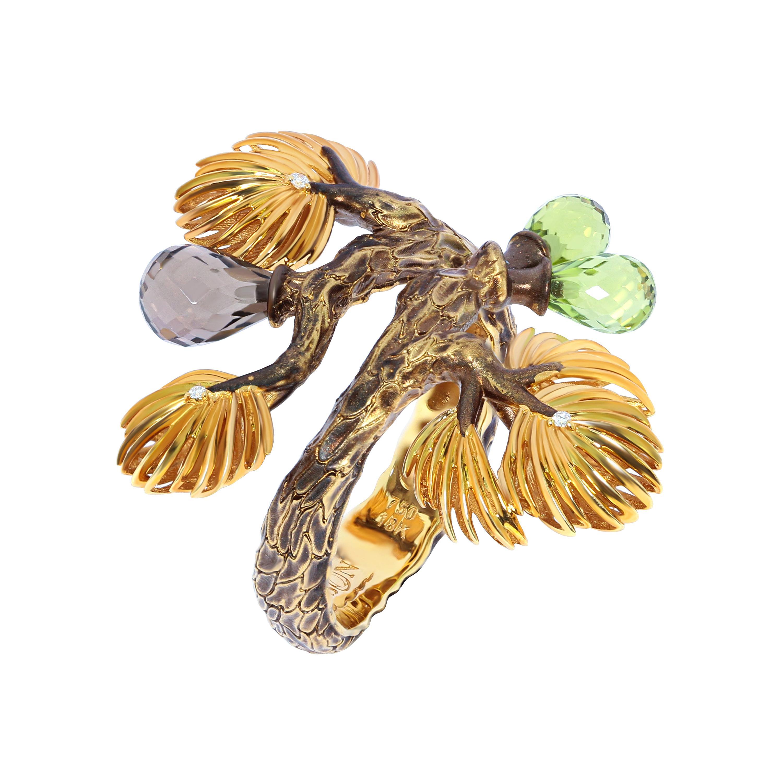 Peridot Smoky Quartz Diamonds 18 Karat Yellow Gold Pine Ring