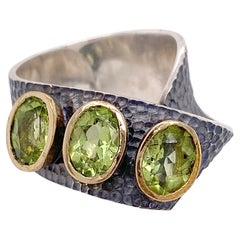 Peridot Statement Ring, 3 Stone Mixed Metal Ring with 3.5 Ct Arizona Peridot