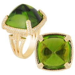 Peridot Sugar Loaf Square Cab Ring with Diamonds
