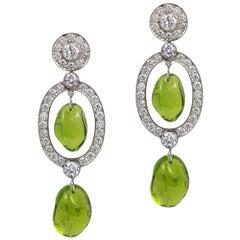 Goshwara Peridot Tumble Bead and Diamond Long Earrings