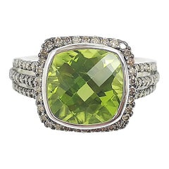 Peridot with Brown Diamond Ring Set in 18 Karat White Gold Settings