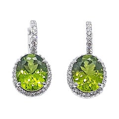 Peridot with Diamond Earrings Set in 18 Karat White Gold Settings