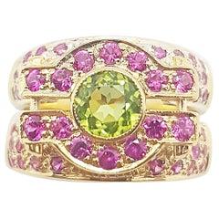 Peridot with Pink Sapphire Ring Set in 18 Karat Rose Gold Settings
