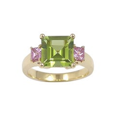 Peridot with Pink Sapphire Rose Gold Settings