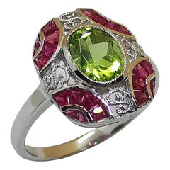 Peridot with Ruby Ring Set in 18 Karat White Gold Settings