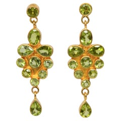 Peridot Yellow Gold Chandelier Earrings