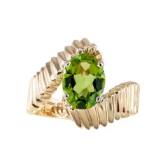 Peridot Yellow Gold Solitaire Ring