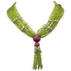 Peridots Pink Sapphire Diamond 18 Karat Gold Necklace