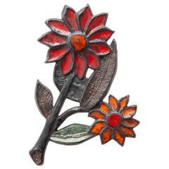 Perignem Wall Mounted Flower Decoration in Ceramic, Belgium Art