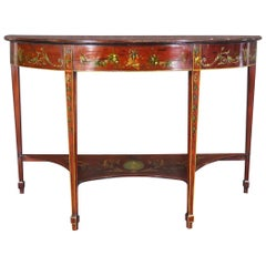 Period 1780s Era Adams Paint decorated Satinwood Demilune Console Table
