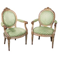 Period 1780s French Louis XVI Gilded and Painted Dining Armchairs Fauteuil, Pair